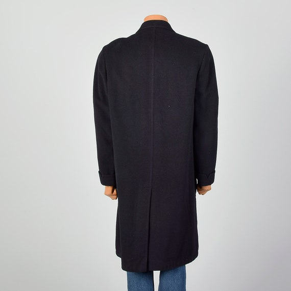 42 Large 1950s Mens Coat Black Cashmere Overcoat … - image 3