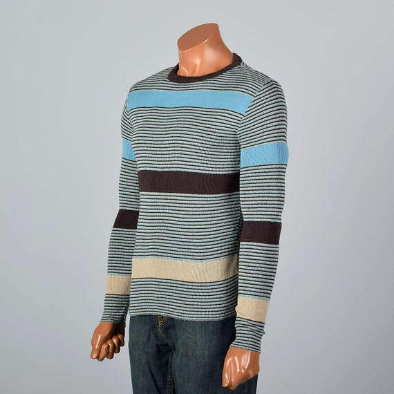 Brown Deadstock Hippie Pullover Blue Vintage 1970s Mens Tight Knit Thin Striped Acrylic Sweater 70s Small Stripe WCAznU