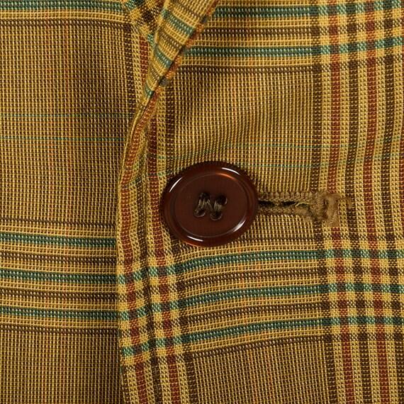 43R 1960 Mens léger d'été veste à carreaux veste d'été deux bouton veste Slim revers Double évent Convertible Rabat poches des années 60 Vintage 5099ce