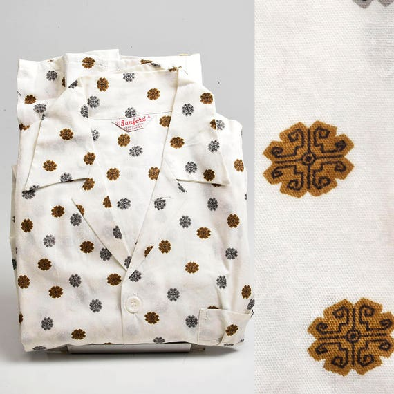 XS 1950s Mens Pajamas Sanforized Cotton Deadstock