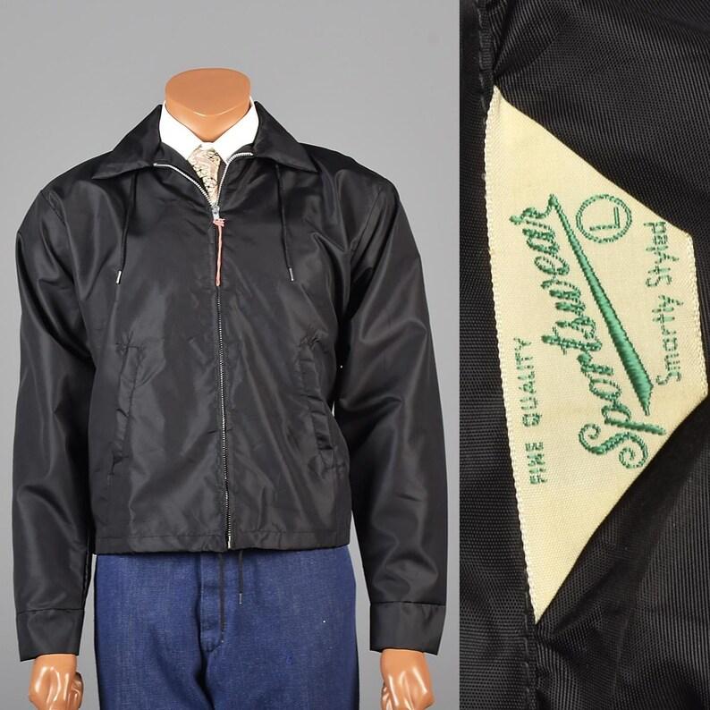 1960s Windbreaker Jacket 60s Black Windbreaker 1960s Car Club Etsy