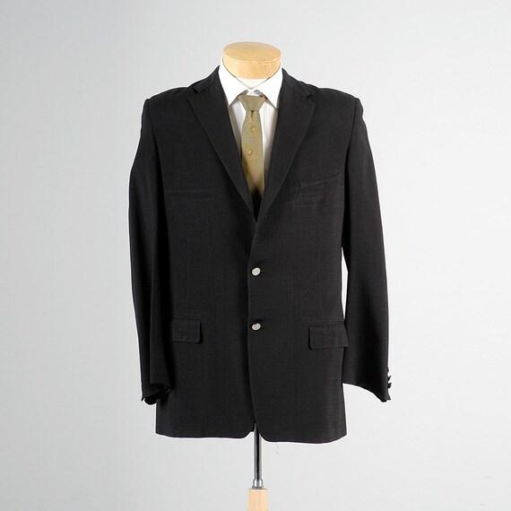 Mens Vintage des années 50 texturé noir Blazer Sportcoat 3 bouton Slim revers de veste au milieu du siècle 42L a besoin de boutons