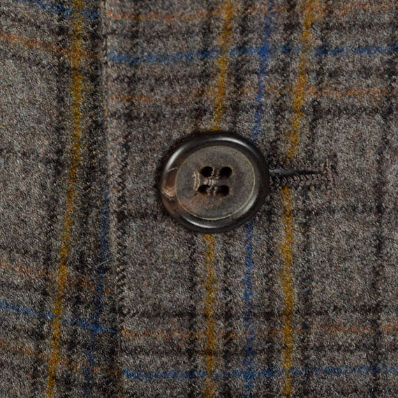Two Jacket Vintage Button Mens 40S Regular Sleeves Flap 1970s Single 70s Width Vent Plaid Lapels Jacket and Yellow Pockets Gray Long Fw0qYSF