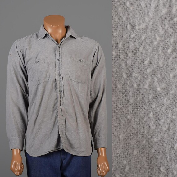 Medium 1950s Mens Flannel Shirt 50s Solid Gray Fla