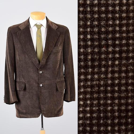 Mens Vintage 70s Bill Blass Brown Tan Check Velvet