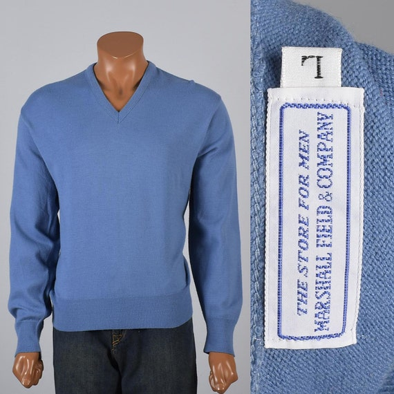 Large 1960s Mens Knit Sweater Blue Sweater Pull Ov
