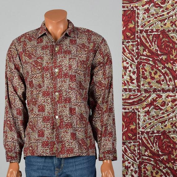 Large 1950s Mens Button Down Shirt Long Sleeve Squ