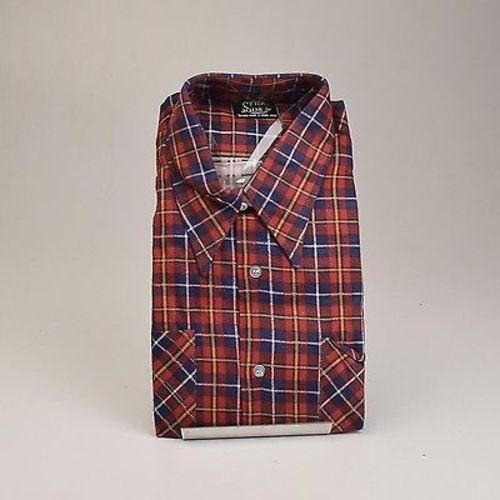 1970s Mens Shirt Styles – Vintage 70s Shirts for Guys Nos Deadstock Mens Vintage 70S 100 Cotton Preshrunk Red Blue Plaid Flannel Shirt Long Sleeve Button Up Heavy Duty Tailored Xl $0.00 AT vintagedancer.com