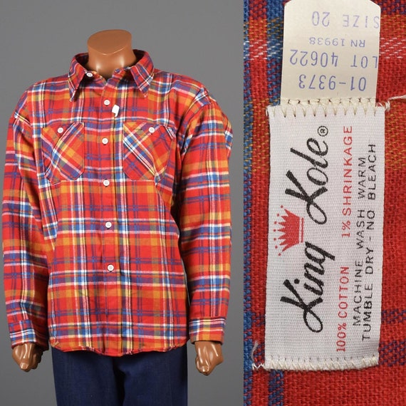 4XL Flannel Shirt 1960s 4XL Flannel Shirt Tartan P