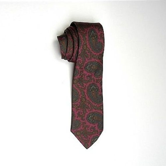 Mens Vintage 80s Brooks Brothers Red Gold Paisley