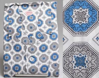 Large Deadstock 1950s Mens Sanforized Cotton Pajamas Rockabilly Loungewear Blue Print PJs Vintage 50s  Lounge Wear Two Piece Set