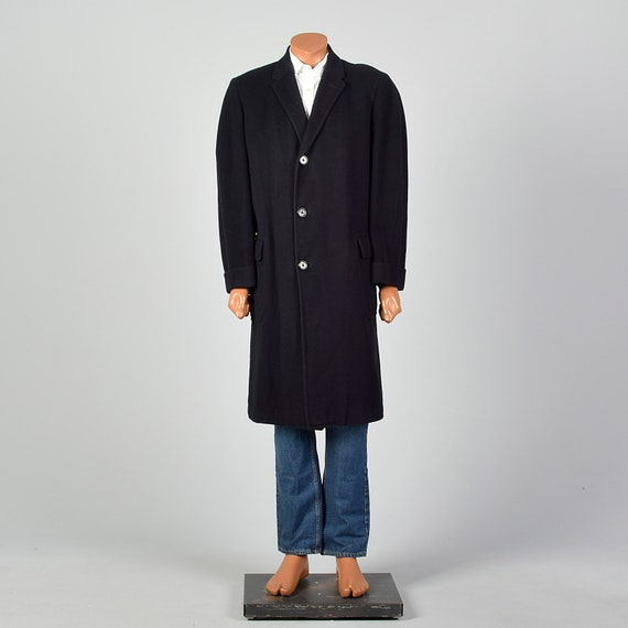 42 Large 1950s Mens Coat Black Cashmere Overcoat … - image 4