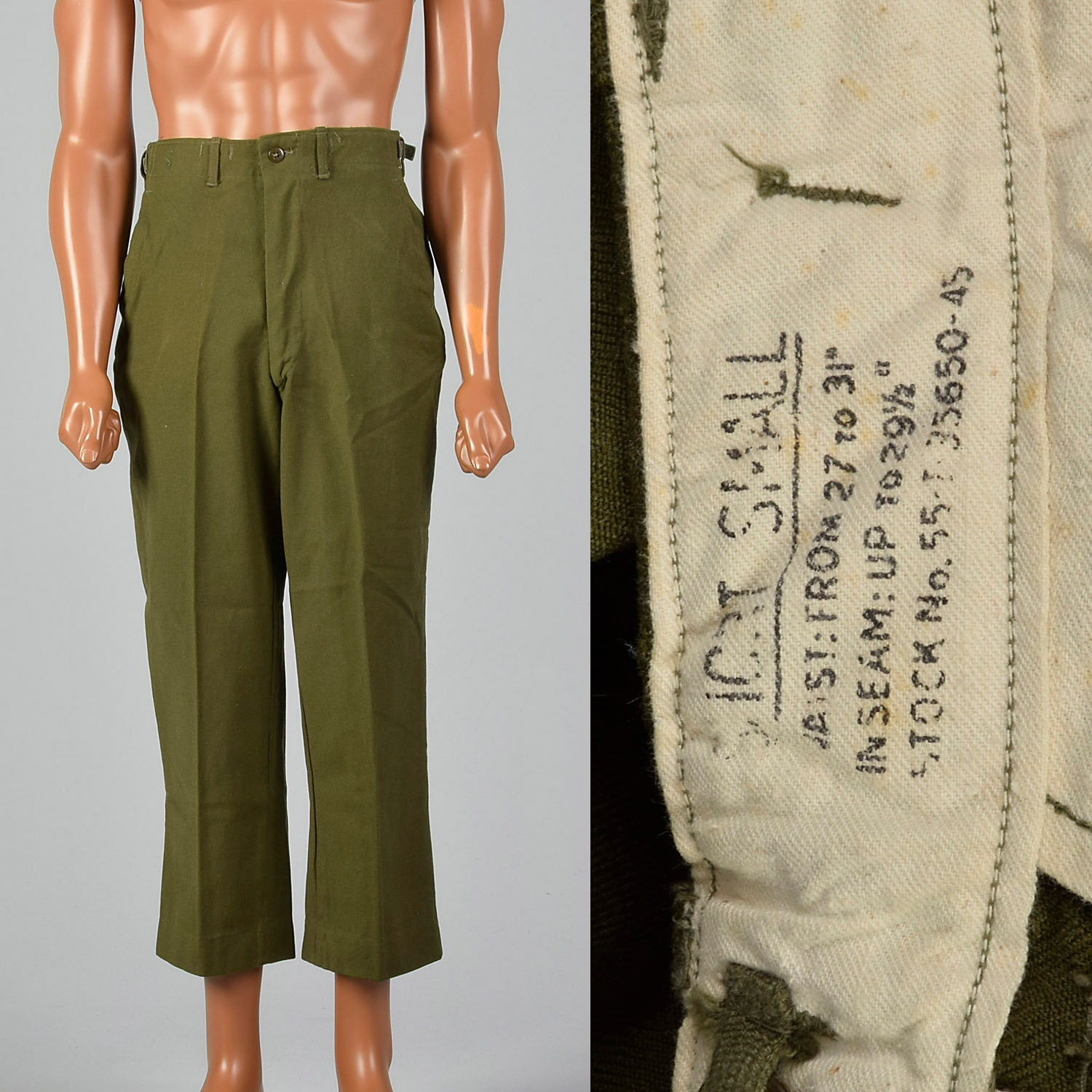 1950s Mens Hats | 50s Vintage Men's Hats Small 1950S Mens Wool Military Field Trousers Flap Pockets Adjustable Waist Green 50S Vintage Pants $0.00 AT vintagedancer.com