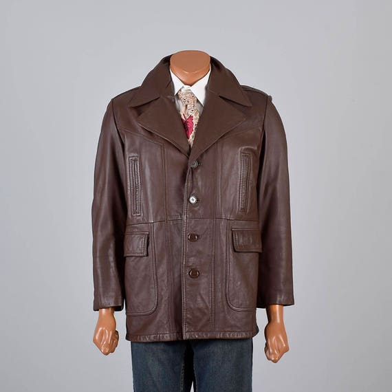 70s Liner 3 40 Winter Zip Brown Leather Vintage In Fall Square Jacket Mens Casual Bottom 4 Plush w7HE5pq