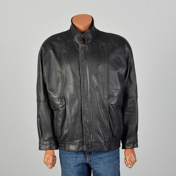Large 1990s Mens Leather Jacket Black Minimalist S