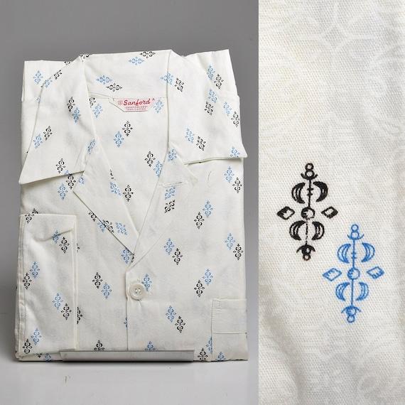 XS Deadstock 1950s Mens Pajamas Set Sanforized Co… - image 1