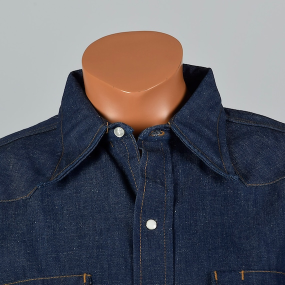 Large Collar Western Mens Long Sleeve 1970s Denim Wing Pockets Deadstock Vintage 70s Snap Cotton Shirt Yoke Front Deadstock 1rUp1