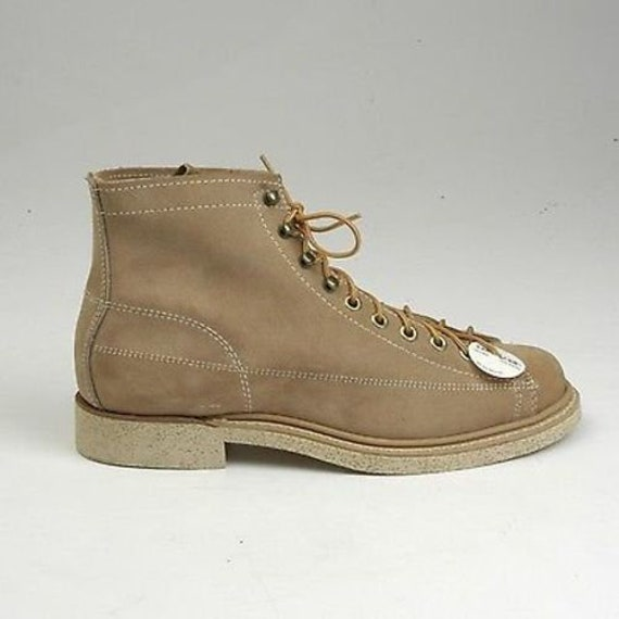5.5 1960s Mens Boots Work Boots Tan Leather Split