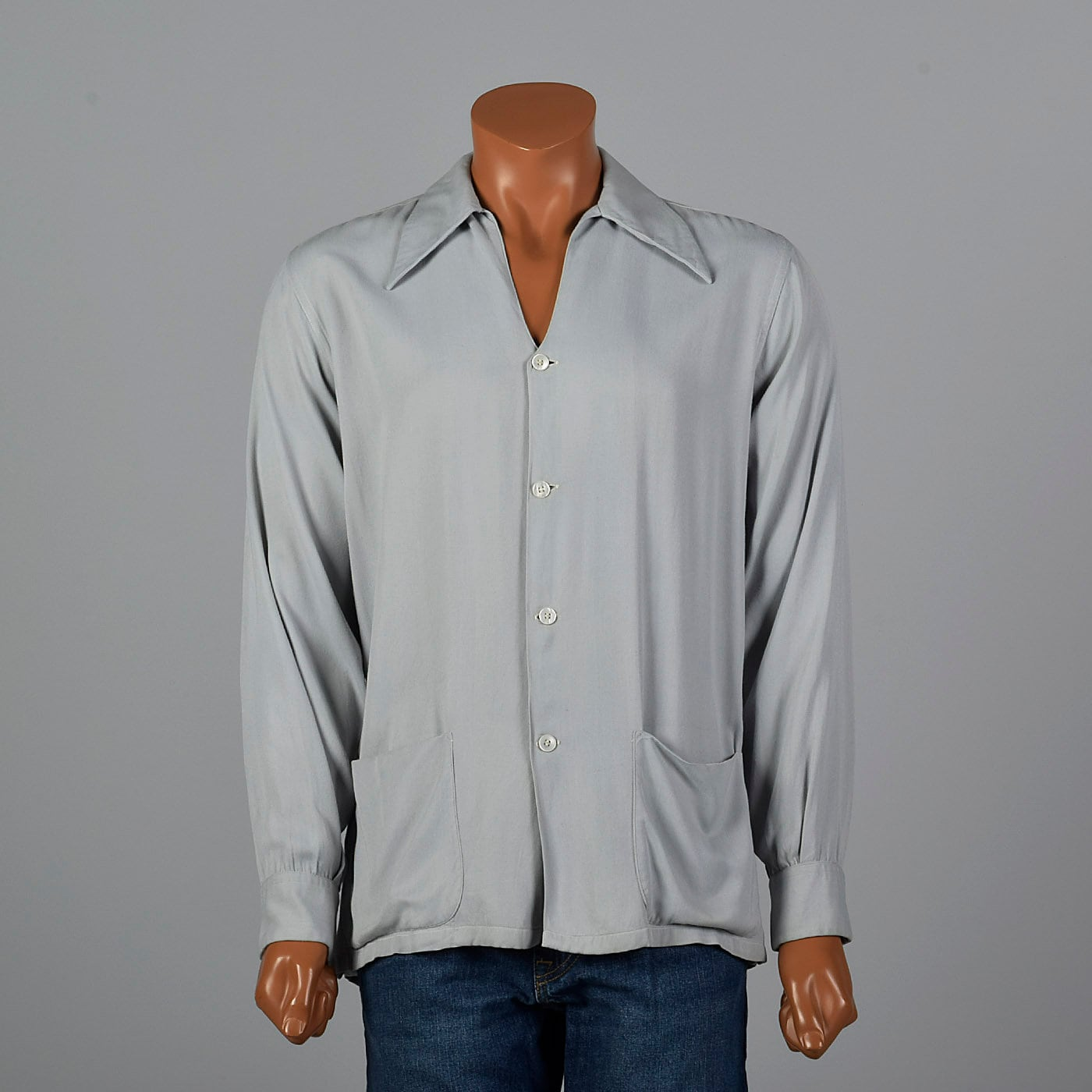 1940s Men's Shirts, Sweaters, Vests Medium 1950S Mens Shirt Gabardine Jacket Van Heusen Rockabilly Gray $0.00 AT vintagedancer.com
