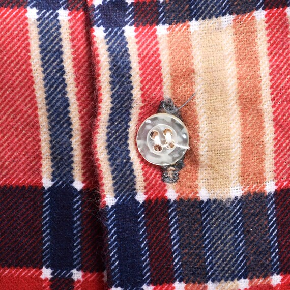 Plaid Mens Button Red Sleeve Shirt Duty Tan Shirt Deadstock Cotton Long Cotton 1970s XL All Flannel Flannel 100 Up Tailored Heavy 4qwxv