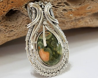 Rainforest Jasper, Jasper, Wire Wrapped, Sterling Silver, Pendant, .925 Sterling Silver, Focal, Beading, Jewelry, Supply