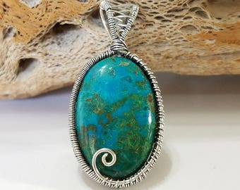 Chrysocolla, Wire Wrapped, Sterling Silver, Pendant, .925 Sterling Silver, Green, Blue, Focal, Beading, Jewelry, Supply