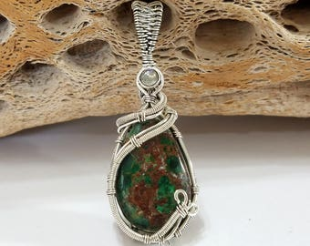 Shattuckite, Labradorite, Wire Wrapped, Sterling Silver, Pendant, .925 Sterling Silver, Focal, Beading, Jewelry, Supply
