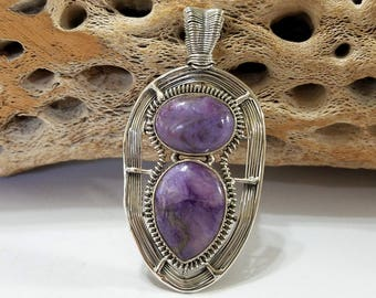 Charoite, Wire Wrapped, Sterling Silver, Purple, Pendant, .925 Sterling Silver, Focal, Beading, Jewelry, Supply