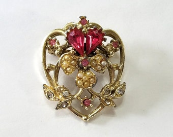 Vintage, Brooch, Pin, Rhinestone, Seed Pearl, Pink, Violet, Pansy, Flower, Focal, Jewelry, Beading, Supply, Supplies