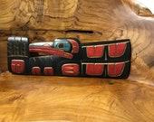 Hummingbird Richard Krawchuk Northwest Coast First Nations Indigenous Artist Cedar Carving Acrylic Painting art Signed Totem Pole original
