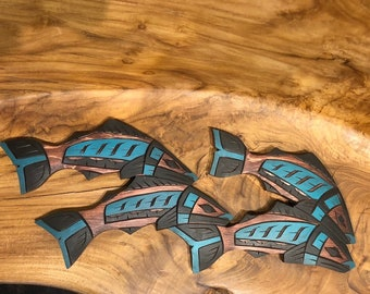 Coast Salish First Nation /'Sasquatch/' Bigfoot Salmon Carving West Coast Native Indigenous Art