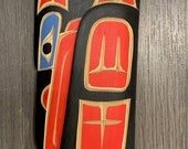 Richard KRAWCHUK quot Loon quot Artist Cedar Carving Squamish Nation Native Carver Totem Pole Three Colors Red Blue Black