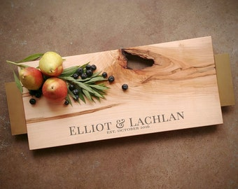 Personalized Serving Tray Maple - Personalized Cutting Board w/Feet, Choice of Handle, includes Wood Butter - Wedding Board