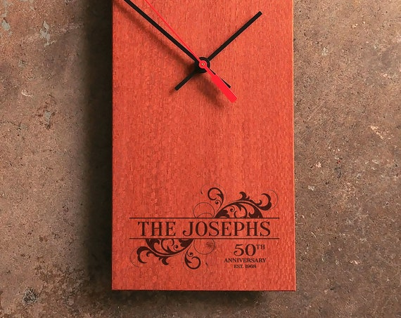 Personalized Wood Clock - Wedding Clock - Modern Wedding Clock - Midcentury Modern Clock - Personalized Wedding Gift - Rectangle Clock