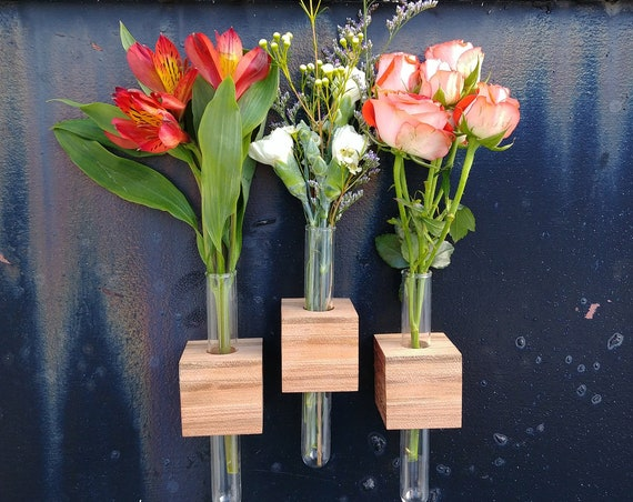 Magnetic Wood Bud Vase Set of Three - Romantic Anniversary Gift for Her