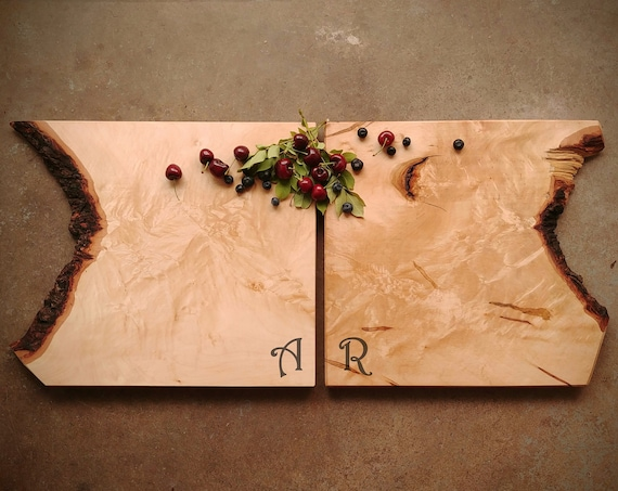 One of A Kind Pair of Maple Cheese Boards w/Feet & Wood Butter