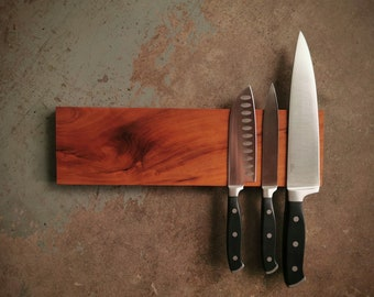 14 Inch Magnetic Cherry Knife Holder - Wooden Magnetic Knife Rack - Personalized Engraving Optional