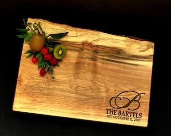 Personalized Cutting Board - Live Edge Maple Cheese Board w/Feet