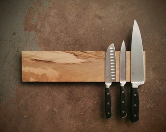 16 Inch Magnetic Maple Knife Holder - Wooden Magnetic Knife Rack - Personalized Engraving Optional