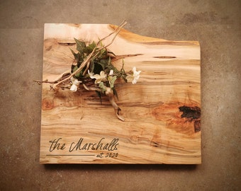 Personalized Charcuterie Board - Live Edge *One of A Kind* Maple Cutting Board - #Z9D0721