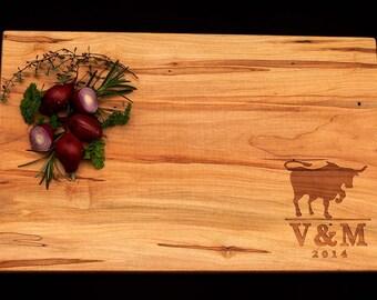 Personalized Cutting Board - Ranch Cutting Board - Engraved Cutting Board - Wedding Cutting Board - Bull Design Cutting Board