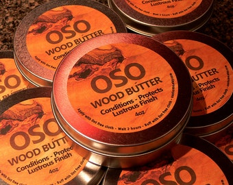 OSO Wood Butter - 4oz Tin Wood Conditioner - Cutting Board Care Product