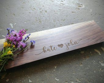 Personalized Cheese Board Walnut 22x5 Euro Edge w/Feet & Wood Butter