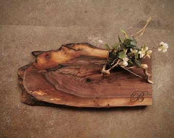 Personalized Cheese Board - Very Rustic Live Edge Charcuterie Board -  Walnut Grazing Board - #Q7H0421
