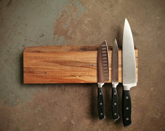 14 Inch Magnetic Live Edge Maple Knife Holder - Wooden Magnetic Knife Rack - Personalized Engraving Optional
