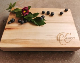 Wood Cutting Board with Script Initial and Interlocking Name