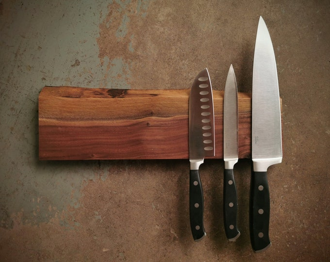 Featured listing image: 14 Inch Magnetic Live Edge Walnut Knife Holder - Wooden Magnetic Knife Rack - Personalized Engraving Optional
