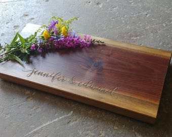 Personalized Cheese Board 8x18x1.5 - Thick Walnut Cheese Board