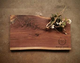 Personalized Cutting Board - Live Edge Walnut Cheese Board -  #ZAS0721