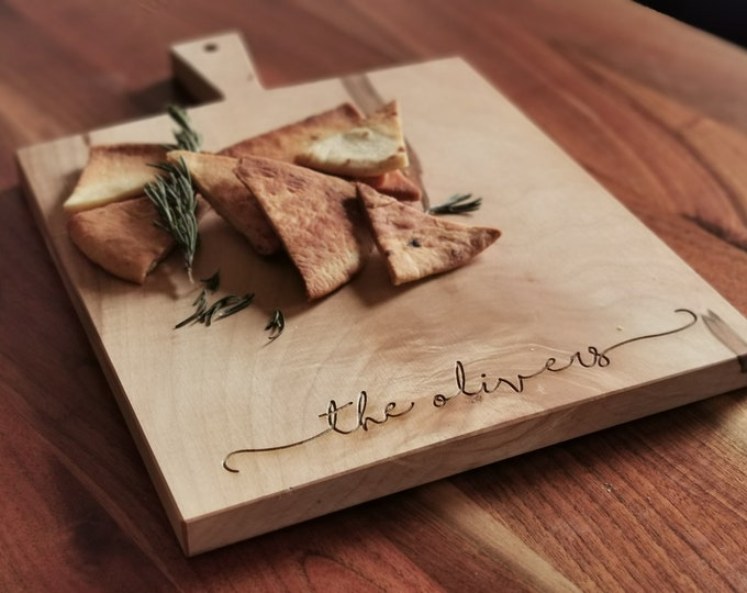 Featured listing image: Personalized Cheese Board - Cutting Board with Handle - Charcuterie Board